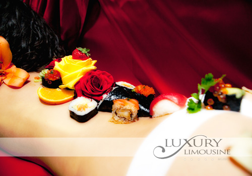 body sushi in limousine